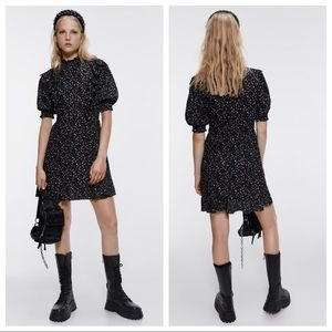Zara Floral Print Ruffled Mini Dress Black